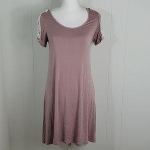❄ Heart Hips : Mauve Crochet Sleeve TShirt Dress